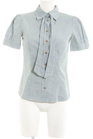 Max & Co. Kurzarm-Bluse weiß-khaki Streifenmuster