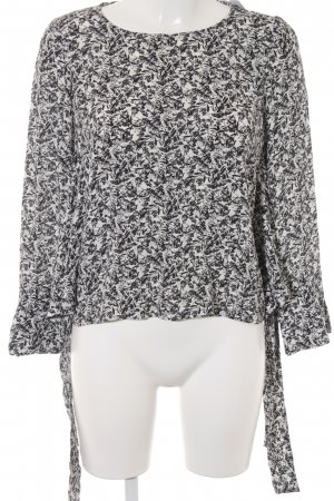 Max & Co. Langarm-Bluse schwarz-weiß florales Muster Casual-Look