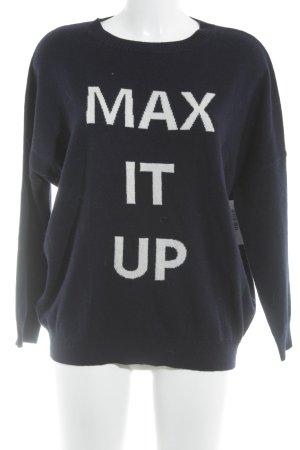 Max & Co. Rundhalspullover dunkelblau-weiß Schriftzug gestickt Casual-Look