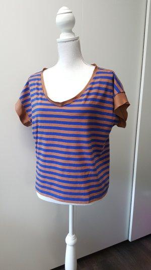 Max&Co. Shirt S gestreift Bauwolle/Seide blau/braun Oversize
