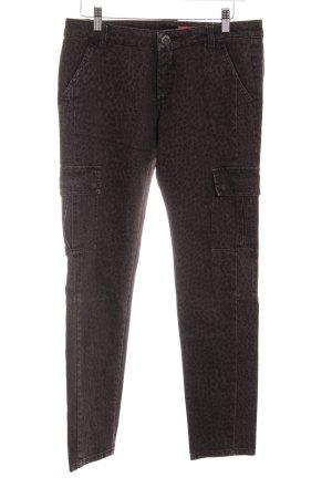 Max & Co. Slim Jeans dunkelbraun-taupe Leomuster Logo-Applikation aus Leder