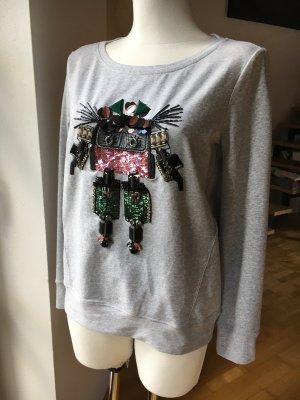 Max & Co. Sweater grau mit Glitzersteinen und Pailetten Roboter Applikation