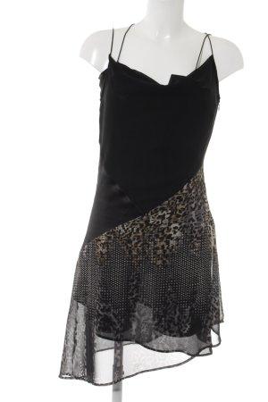 Max & Co. Vestido tipo overol negro-marrón grisáceo estampado de leopardo