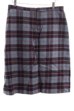 Max & Co. Gonna di lana viola scuro-azzurro motivo a quadri stile classico
