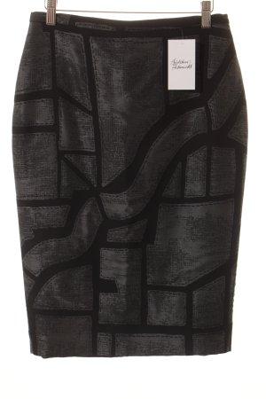 Max Mara Bleistiftrock schwarz-grau abstraktes Muster extravaganter Stil