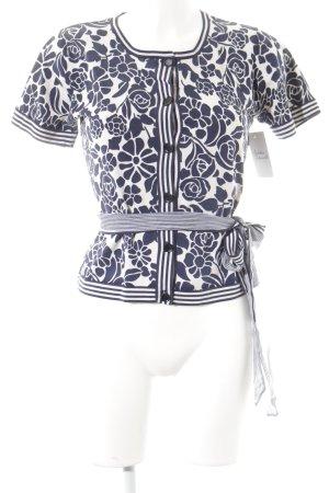 Max Mara Cardigan dunkelblau-weiß florales Muster klassischer Stil
