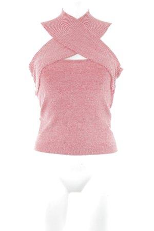 Max Mara Top corto rosso chiaro-rosa pallido puntinato stile semplice