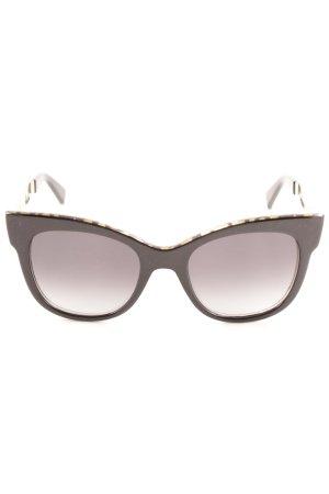 Max Mara eckige Sonnenbrille schwarz-goldfarben Street-Fashion-Look
