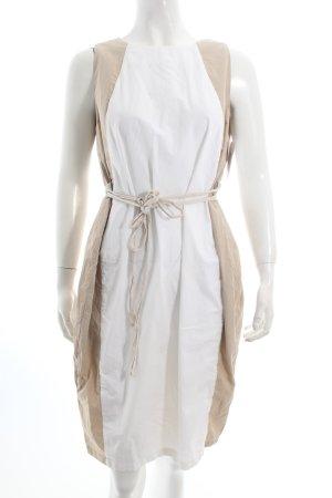 Max Mara Etuikleid beige-weiß Colourblocking klassischer Stil