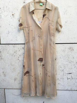 Max Mara Flower print Seidenchiffon Kleid Nude beige