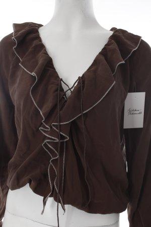 Max Mara Langarm-Bluse braun-weiß Volantbesatz