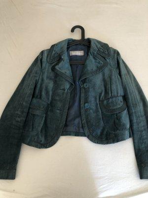 Max Mara Veste en jean bleu cadet-turquoise cuir