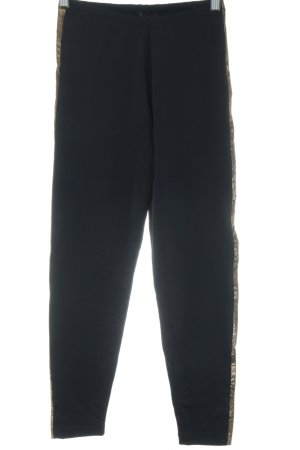 Max Mara Leggings schwarz-goldfarben Casual-Look