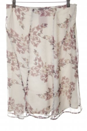 Max Mara Silk Skirt natural white-brown allover print casual look