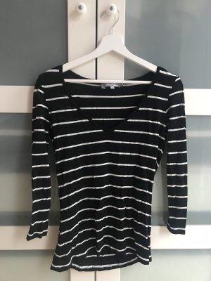 Max Mara T-shirt col en V noir-blanc