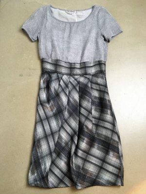 * MAX MARA SPORTMAX * kurzarm Kleid Wolle Seide kariert grau schwarz Gr 36 38 ( it. 42 )