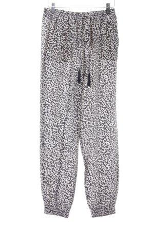 Max Mara Pantalón deportivo crema-negro estampado de leopardo estampado animal