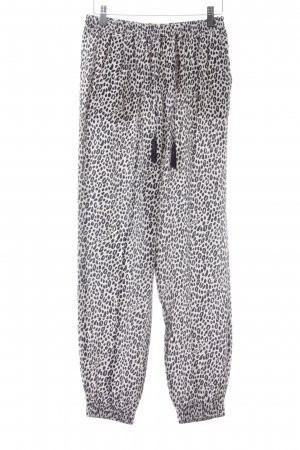 Max Mara Pantalone fitness crema-nero Stampa leopardata impronta animale
