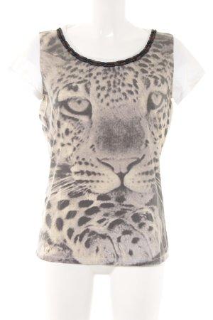 Max Mara T-Shirt weiß-graubraun Animalmuster Casual-Look