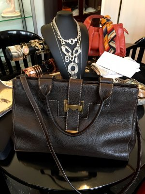Max Mara Carry Bag dark brown leather