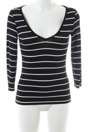 Max Mara V-Ausschnitt-Shirt schwarz-weiß Streifenmuster Casual-Look