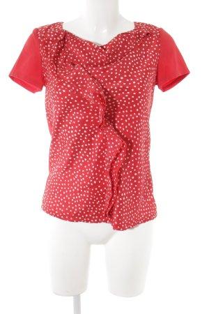 Max Mara Camisa con cuello caído rojo-blanco estampado a lunares look casual