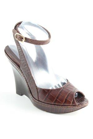 Max Mara Wedges Sandaletten dunkelbraun Casual-Look