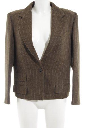 Max Mara Blazer in lana marrone-grigio motivo a righe stile casual