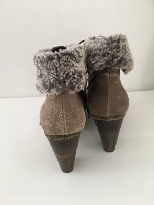 Scarpina di lana marrone-grigio-grigio
