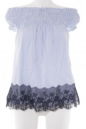 Max Volmáry Carmen Blouse cornflower blue-white striped pattern romantic style