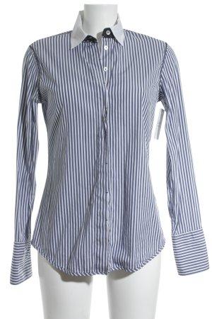 Max Volmáry Langarmhemd weiß-stahlblau Streifenmuster schlichter Stil