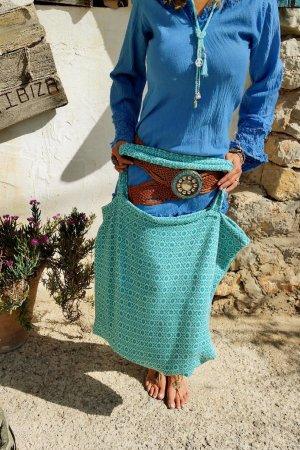 Bolsa de la compra azul acero-turquesa Algodón