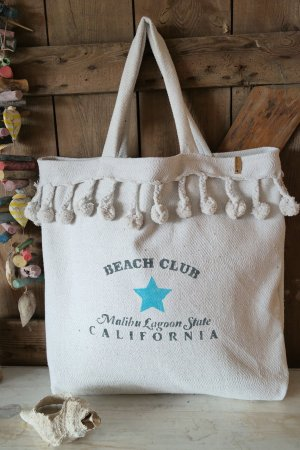 maxi Beach Bag Pompoms ibizs