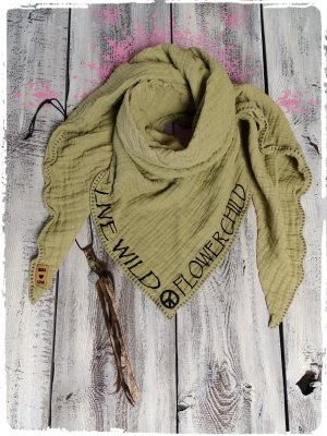 Crinkle Scarf olive green cotton