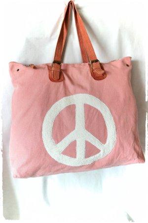 Maxi Canvas Leder Shopper mit Frottee Peace