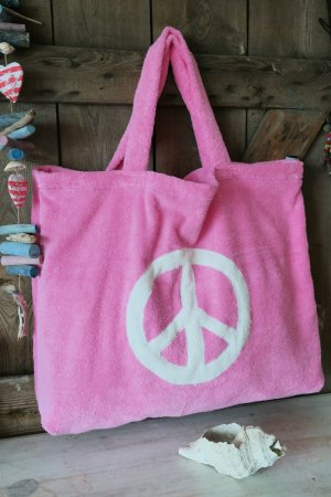 Maxi Frottee Strand Tasche pink Peace
