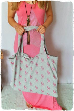 Stoffen tas lichtgrijs-roze