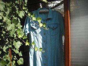 Maxi Jeans Kleid Halbarm tailliert Godet hellblau Steppnähte 100% BW Gr.42 gebr