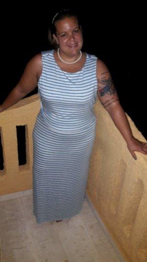 Yessica Robe longue blanc-bleu