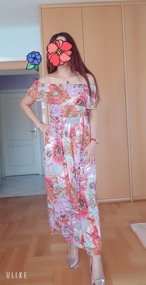 100% Fashion Chiffon jurk wolwit-donker oranje