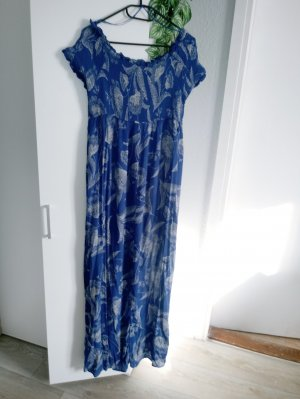 Yessica Maxi-jurk blauw-wolwit Viscose