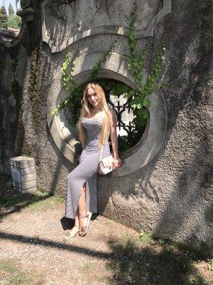 Vestido largo blanco-negro