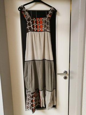 Vestido largo gris-coñac