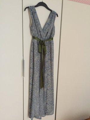 Maxi-Kleid gr 38 hellblau Plissee Muster