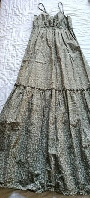 Maxi Kleid in Khaki mit weißen Blumen