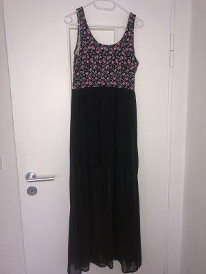 Maxi Kleid mit Blumenmuster transparentes Oberkleid