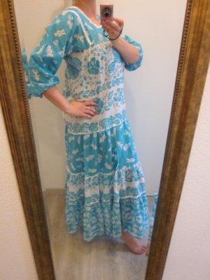 Maxi Kleid Real Vintage Mega Blogger hellblau weiss Gr L
