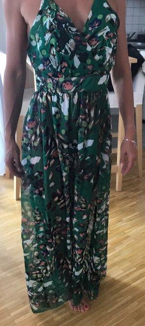 Maxi Kleid / Spaghetti Trägerkleid mit Floralmuster grün Neu ungetragen S