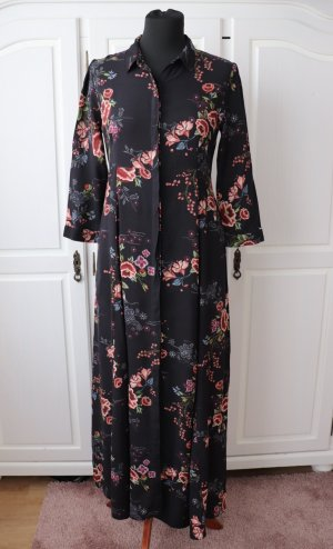 Zara Vestido largo negro-rojo claro