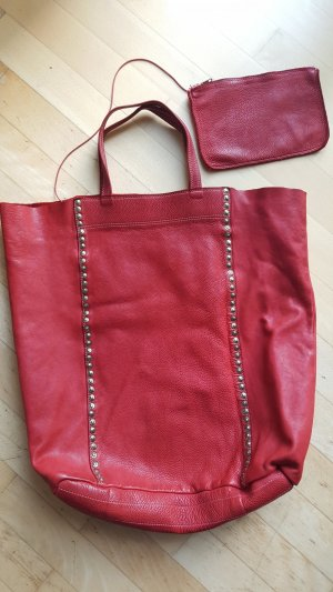Shopper brick red leather